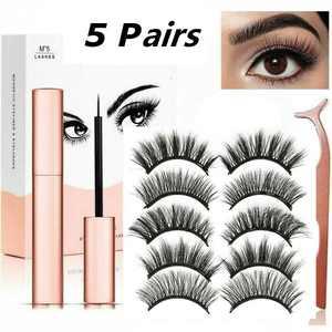 (10 Pcs) Magnetic False Eyelashes Lashes with Magnetic Liquid Eyeliner Kit Mixed 5 Types Set