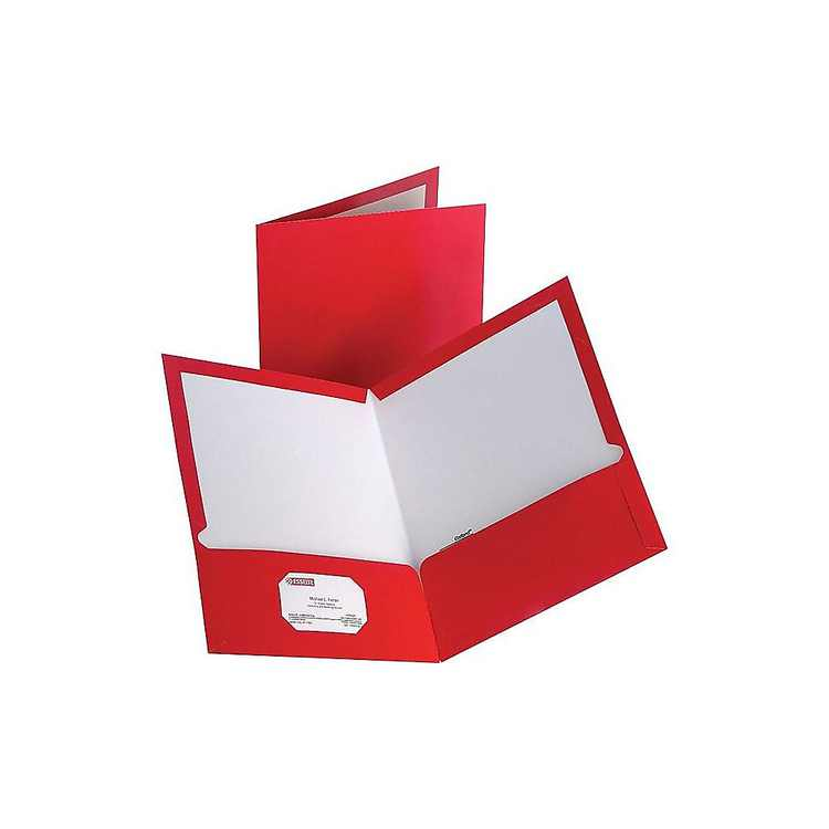 Staples 2-Pocket Laminated Folders Red 10/Pack (13374-CC) 905481