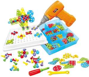 Toyvelt Building Block Games Set with Toy Drill & Screwdriver Tool Set Educational Building Blocks Construction Games Develop Fine Motor Skills - Best Kids Toys for Boys & Girls Age 3 - 14 Year Old