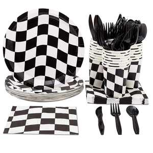 Serves 24 Race Car Party Supplies Set for Kids Birthday Decorations Favors, Flag Plates, Napkins, Cups, Dinnerware