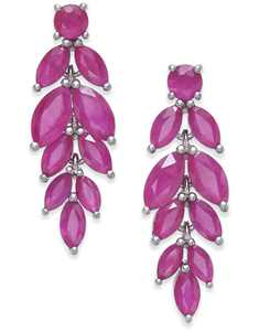 Ruby Leaf Drop Earrings (6-1/2 ct. t.w.) in Sterling Silver