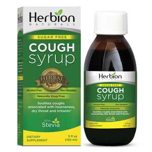 Herbion Naturals Sugar Free Cough Syrup with Stevia, 5floz Helps Relieve Cough andSoothesSore Throat, Naturally Optimizes Immune System.