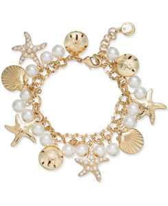 Gold-Tone Imitation Pearl Sea Motif Bracelet, Created for Macy's
