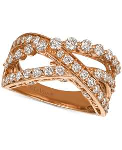 Strawberry & Nude Diamond Crisscross Ring (1-1/3 ct. t.w.) in 14k Gold or Rose Gold