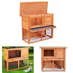 """Ktaxon 36"""" Waterproof 2 Tiers Wooden Pet Rabbit Bunny Hutch Chiken Coop Cage Hen House Wood Color"""