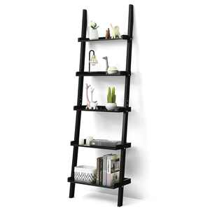 Costway Ladder Shelf 5-Tier Plant Stand Wall-leaning Bookcase Display Rack Black