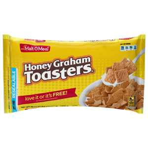 Malt-O-Meal Honey Graham Toasters Breakfast Cereal, Super Size Bulk Bagged Cereal, 38 Ounce - 1 count