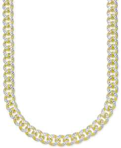 "24"" Men's Two-Tone Cuban Link Chain Necklace in 18k Gold-Plated Sterling Silver and Sterling Silver"