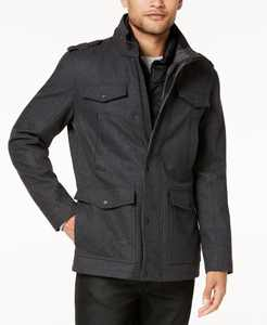 Men's Military-Inspired Coat with Plaid Detail, Created for Macy's