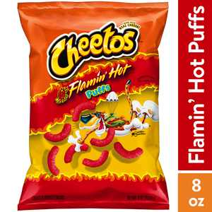 Cheetos Puffs Flamin' Hot Cheese Flavored Snacks, 8 oz