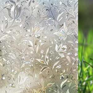 3D Window Films Privacy Film Static Decorative Film Non-Adhesive Heat Control Anti UV 17X78 Inch