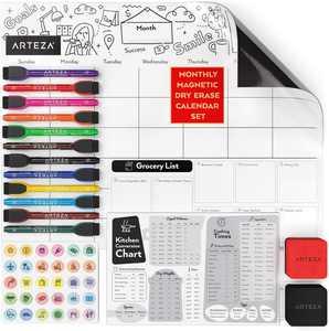 ARTEZA Magnetic Monthly Calendar Set, Dry Erase, White