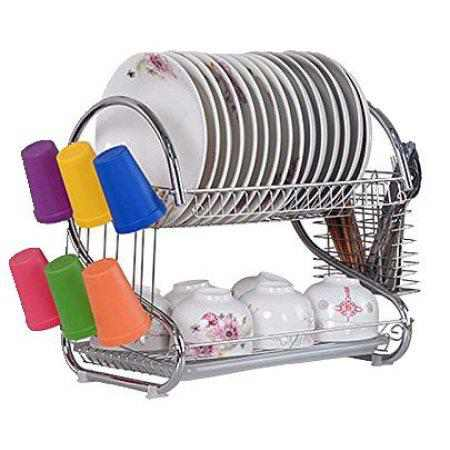 Ktaxon 2-Tier Stainless Steel Silver Dish Rack with Drainboard