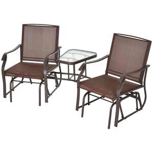 Outsunny 2 Person Outdoor Sling Fabric Double Glider Rocker Chair with Table, Brown