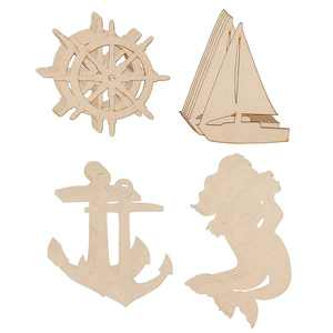 24 Pack (6 of Each) Unfinished Wood Cutouts Wooden Ship's Wheel, Yacht, Anchor, Mermaid Shape Wood Craft Natural Rustic Laser Cut Out Wood Pieces for Crafts Paintable Kids DIY Project Home Decoration