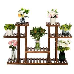 Artisasset 8-Shelf Indoor And Outdoor Wooden Plant Flower Stand for Patio Living Room Garden