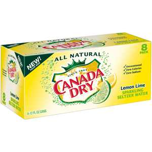 Canada Dry Sparkling All Natural Caffeine-Free Lemon Lime Seltzer Water, 12 Fl. Oz., 8 Count