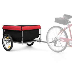 Costway Bike Cargo / Luggage Trailer w/ Folding Frame & Quick Release Wheels Red/Black