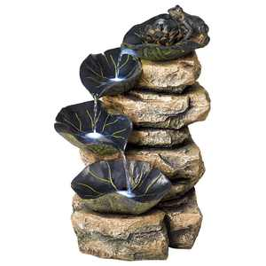 """John Timberland Rustic Outdoor Floor Water Fountain with Light LED 21"""" High Cascading Lily Pads for Yard Garden Patio Deck Home"""