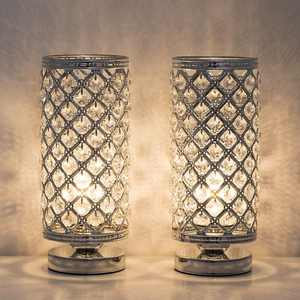 Crystal Table Lamps - Set of 2 with Clear Crystal Lamp Shade, Silver
