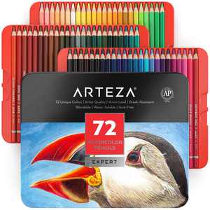 Arteza Watercolor Pencils Art Supply Set - 72 Piece