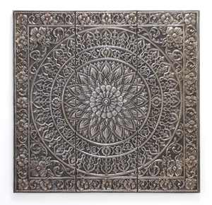 Decmode 36 Inch Traditional Square Iron Raised Relief Floral Wall Panel, Silver