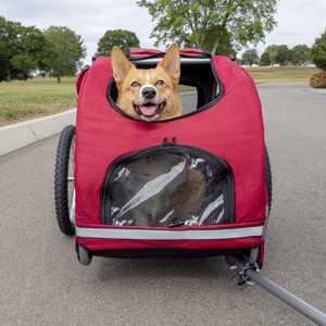 PetSafe Happy Ride Aluminum Dog Bicycle Trailer, Light Aluminum, Medium, Red