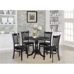 East West Furniture DLGR5-BLK-W 5 Piece Kitchen Table Set-Table and 4 Kitchen Chairs