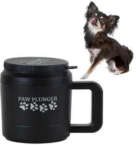 Paw Plunger  The Muddy Paw Cleaner for Dogs  Saves Carpet, Furniture, Bedding, Cars from Dirty Paw Prints  Use This Dog Paw Cleaner After Walks  Soft Bristles and Handle  Petite, Black