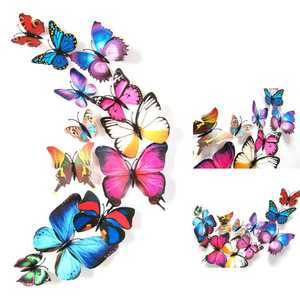 12 PCS Wall Stickers Creative 3D Butterfly Wall Stickers Art DIY Decoration Decals Wall Art Decors for Home Bedroom Living Room T V Background Wall Kitchen Fridge Window