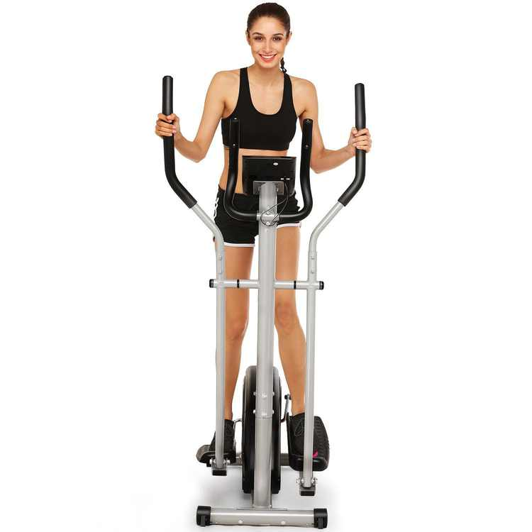 Elliptical Machine Trainer Magnetic Smooth Quiet Driven Elliptical Bike 2 in 1 Digital Monitor Large Window LCD Screen Time/Speed/Calorie/Distance/Heart Rate For Home Office Fitness Workout