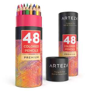 ARTEZA Colored Pencils Set, 48 Colors with Color Names, Triangular shaped, Pre sharpened, Soft Wax-Based Cores, Vibrant Artist Pencils
