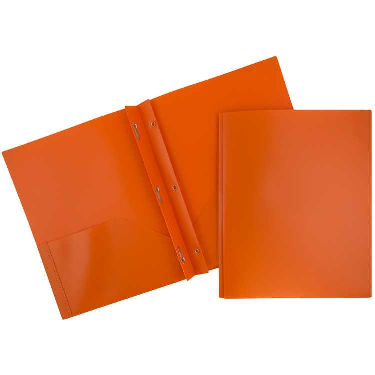 JAM Plastic 2 Pocket School POP Folders with Metal Prongs Fastener Clasps, Orange, Bulk 96/Pack