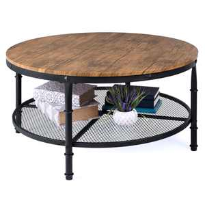 Best Choice Products 2-Tier Round Coffee Table, Rustic Accent Table w/ Wooden Tabletop, Padded Feet, Open Shelf - Brown