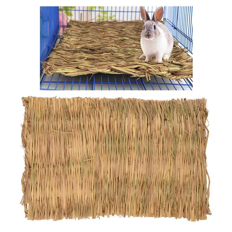 """16""""x 11"""" Grass Hamster Bed Woven Small Animal Mat Safe Pet Chew Toy for Hamster, Rabbit, Hedgehog and Guinea Pig"""