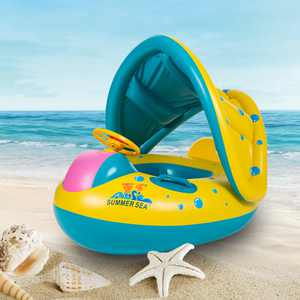Lixada Portable Inflatable Circle Baby Float Seat Kids Swimming Circle with Sunshade Seat Pool Accessories,Yellow-Blue