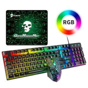 Wired Gaming Keyboard and Mouse Combo RGB Backlit Gaming Keyboard + 2400DPI LED Multi-Colored Changing Mouse + Mouse Pad Set For PC Laptop PS4/PS3/Xbox One