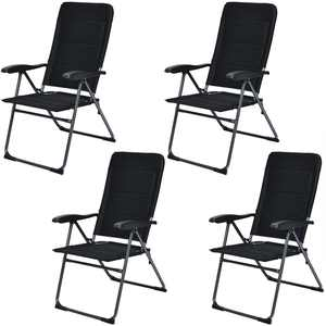 Gymax Fabric Folding Chair (4 Pack), Black