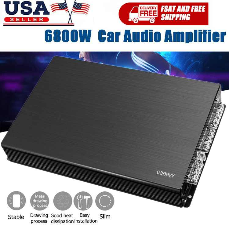 Car Amplifier Power 6800 Watt with 4-Channel Subwoofer Super Stereo Audio Amplifiers Stereo High Power Slim Amplifier For Car, Class A/B DC12V