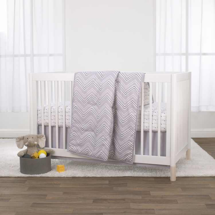 Little Love by NoJo Grey Chevron 3 Piece Crib Bedding Set - Comforter, Fitted Crib Sheet and Dust Ruffle