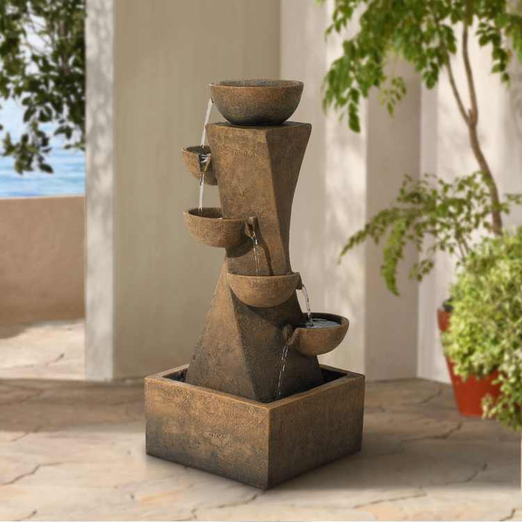 """John Timberland Rustic Outdoor Floor Water Fountain with Light LED 27 1/2"""" High Cascading Bowls for Yard Garden Patio Deck Home"""