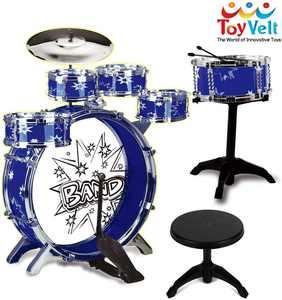 ToyVelt 12 Piece Kids Jazz Drum Set  6 Drums, Cymbal, Chair, Kick Pedal, 2 Drumsticks, Stool  Little Rockstar Kit to Stimulating Childrens Creativity - Ideal Gift Toy for Kids, Teens, Boys & Girls