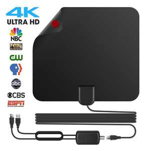 [2021 Upgraded Version] Amplified HD Digital TV Antenna, 50 Miles Long Range with Powerful built-in HDTV Signal Amplifier, Support 4K 1080P VHF UHF TV Channels, with 13ft Coaxial Cable