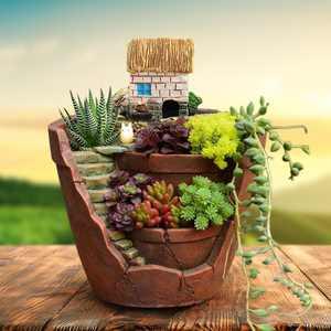 10x12CM Sky Garden Small House Succulent Green Plant Planter Herb Flower Basket Bonsai Pot Home Decor