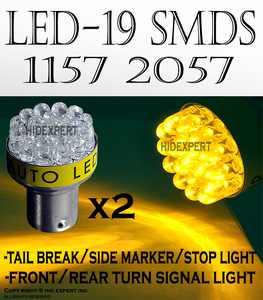 JDM 2 pcs AMBER YELLOW 19 Led Bulbs For Turn Signal Light 1157 2057 Fast Shipping