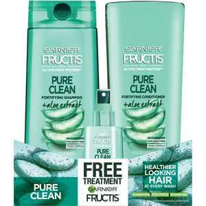 ($15 Value) Garnier Fructis Shampoo and Conditioner Gift Set, Silicone-Free, Aloe, 3 Piece