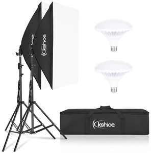 "Ktaxon LED Photography Softbox Video Lighting Kit 20""x27"" Professional Photo Studio Equipment with E27 Socket and 2x5500K Instant Brightness Energy Saving Lighting Bulbs"