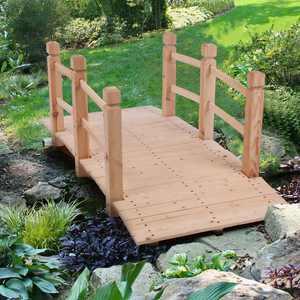 Zimtown Wooden Garden Bridge Footbridge with Railings for Backyard