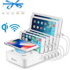 5-Port USB Charging Station for Multiple Devices, Fast Charging Dock Organizer with 5 USB Ports and 1 Qi Wireless Charging Pad for iPhone, ipad, Samsung, Android Phone, Tablet