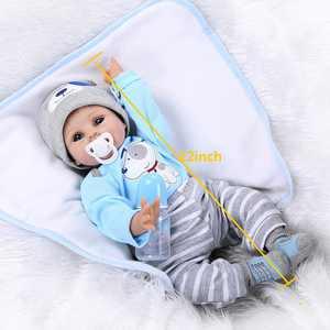"UBesGoo Boy Doll Baby Lifelike 22"" Handmade Newborn Reborn Vinyl Clothes Silicone Blue"